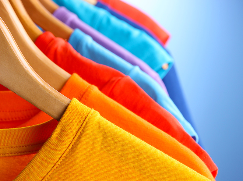 Cotton t-shirts on hangers